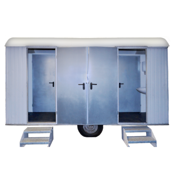 Mobile Toilette Aachen - Toilettenwagen getrennt mit Treppen