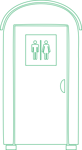 wc mieten Aachen - Symbol Toilettenkabine grün
