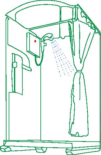 wc mieten Aachen - Symbol Toilettenkabine mit Dusche grün